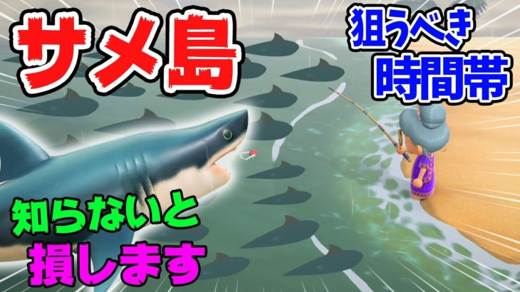 【あつ森】サメ島への行き方や時間帯を紹介!背びれのある魚影から釣れるサメの種類や値段、釣り方を解説します!超低確率でしか行けない背びれ島を狙うべき季節や時期【あつまれどうぶつの森 魚図鑑】