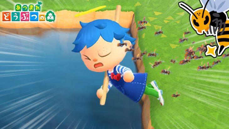 ジャンプした瞬間にハチに刺されたら池の中に入っちゃう説!!【あつ森】【あつまれどうぶつの森検証】