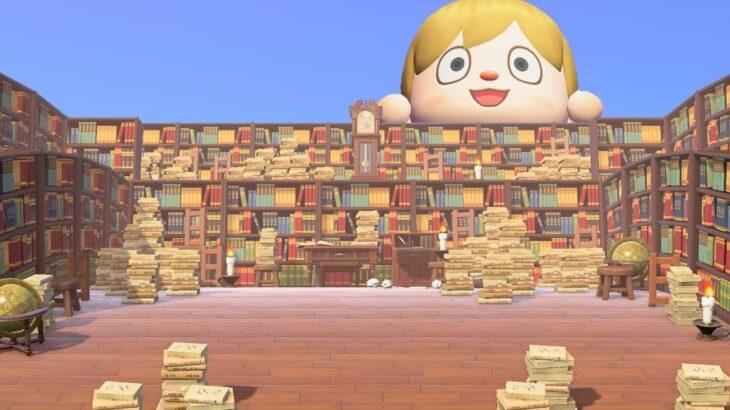 【あつ森】島クリエイト ハシゴと積まれた本を使った図書館のレイアウト 【あつまれどうぶつの森】作り方紹介